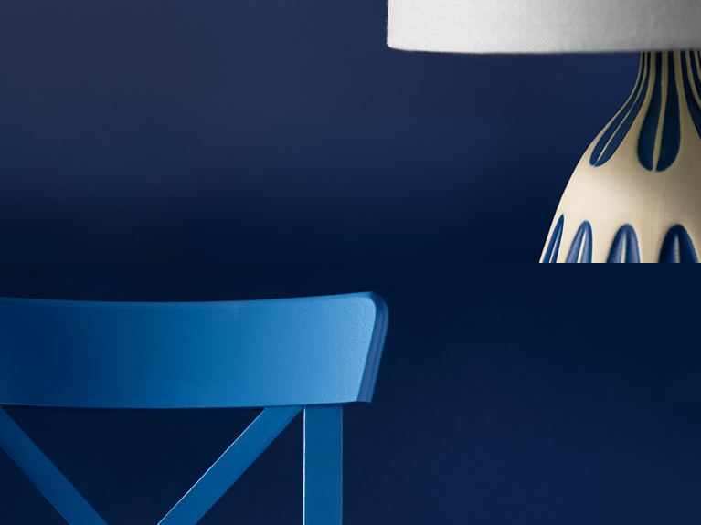 blue chair and lamp